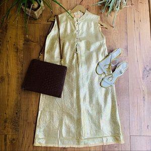 Vintage 1960s Gold Lamé Shift Dress